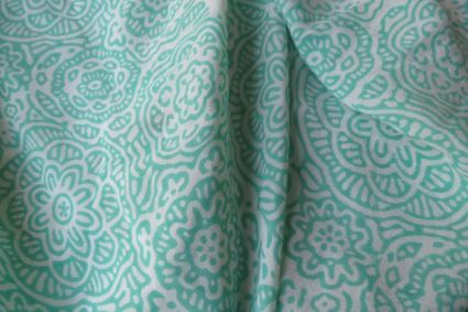 GREEN FLORAL PURE SILK FABRIC BY THE YARD-HF912